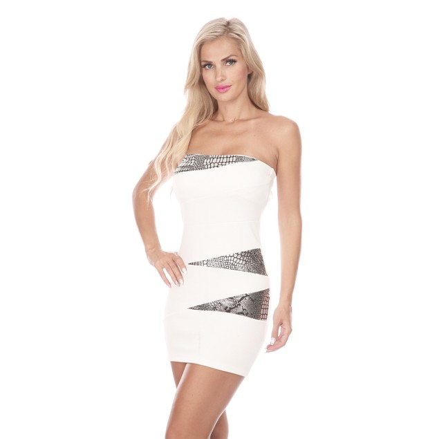 Strapless Snake Skin Detail Mini Dress