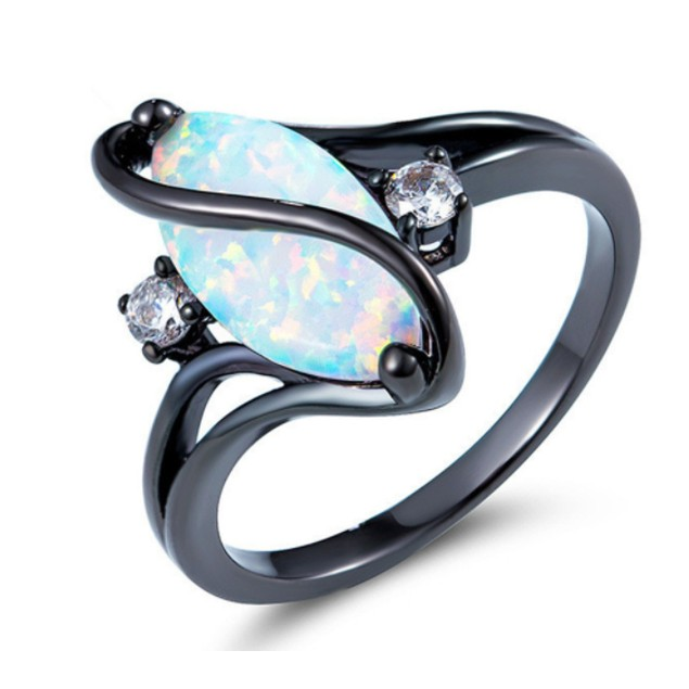 Black Rhodium And Opal Ring With CZ