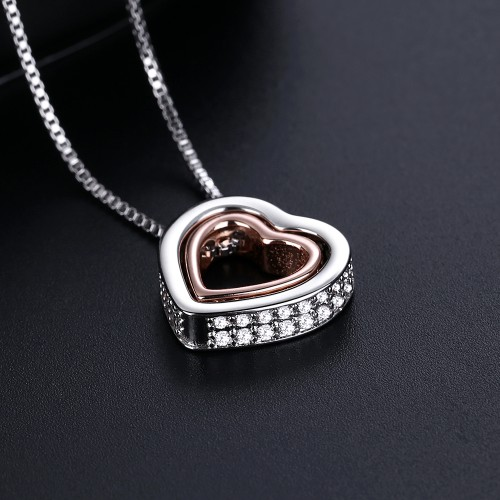 Genuine Crystal double Heart Pendant Necklace