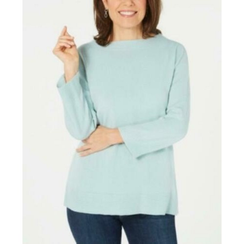 Karen Scott Women's Bateau-Neck Long-Sleeve Sweater Blue Size Extra Large