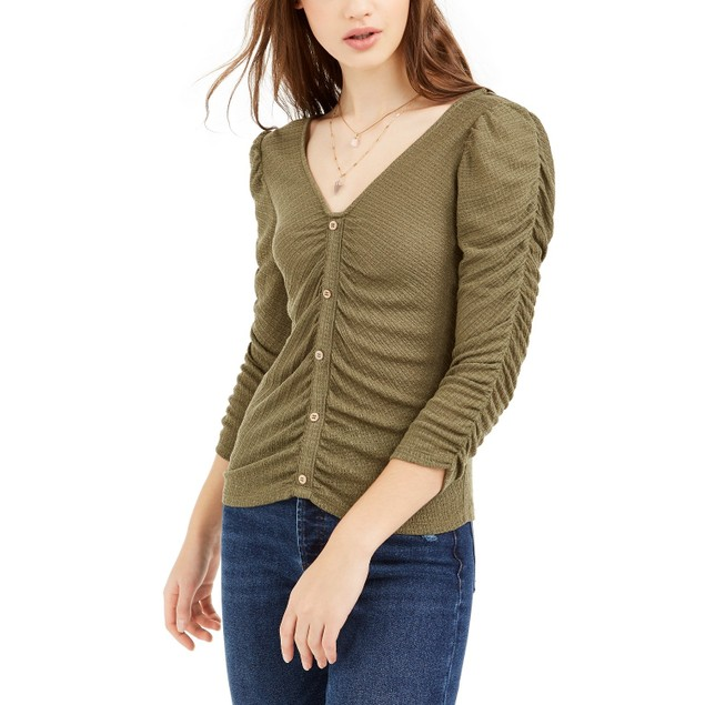 Crave Fame Juniors' Ruched Textured Top Green Size Medium