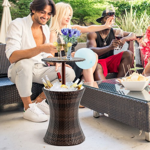 Costway 1PC Adjustable Outdoor Patio Rattan Ice Cooler Cool Bar Table Party