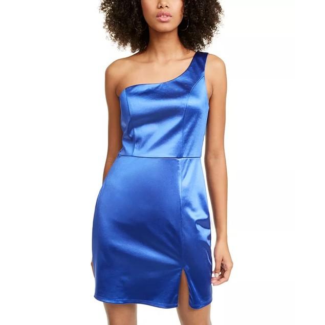 Crystal Doll Juniors' Satin One-Shoulder Dress Dark Blue Size 7