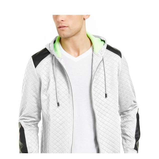 INC International Concepts Men's Quilted Hooded Jacket White Size Large