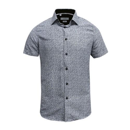 Monza Modern Fit Short Sleeve White Marble Floral Dress Shirt