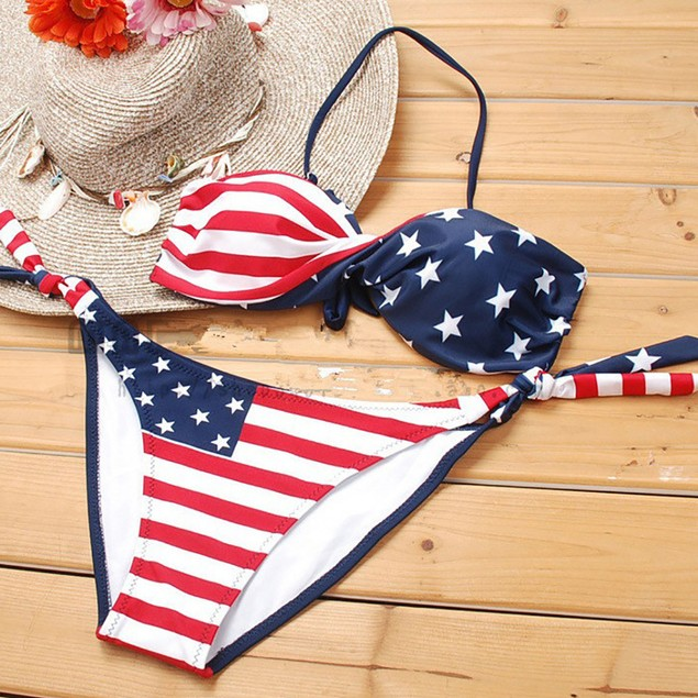 Women Bikini Set Push-Up Padded Print Bra Swimsuit Beachwear