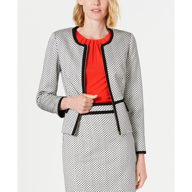 Calvin Klein Women's Piped Zip-Front Jacket Med Gray Size 8
