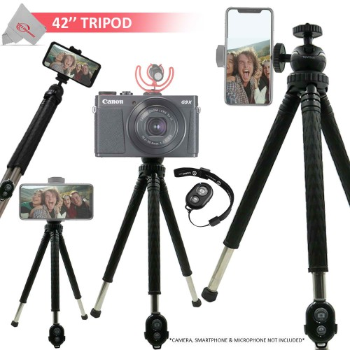 """Vivitar 42"""" Foldable Travel Tripod 360° Ball Head Rotation with Smart Phone Cradle and Wireless Remote"""