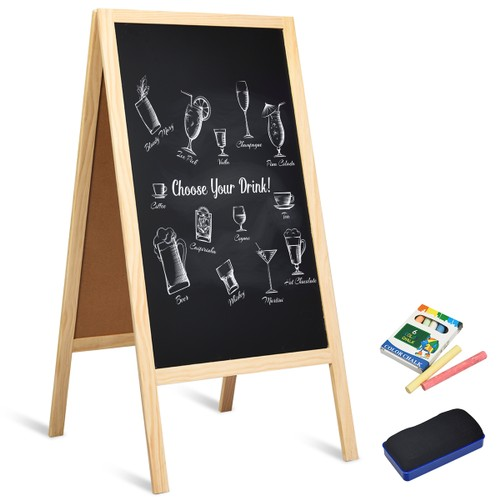 Costway 40'' A-Frame Chalkboard Menu Wedding Signage w/Eraser Chalk Natural
