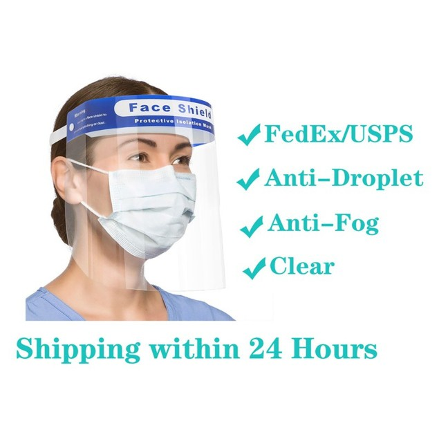 10 Pack Double Side Anti Fog Protection Full Face Transparent Mask