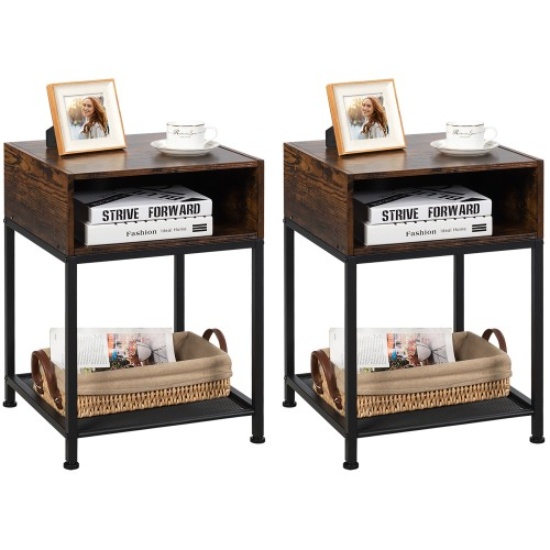 Costway Set of 2 Industrial Nightstand End Side Table W/ Compartment & Mesh