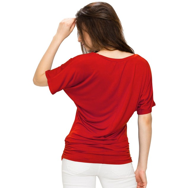 Made By Johnny MBJ Women's V-Neck Dolman Top with Side Shirring (XS-3X)
