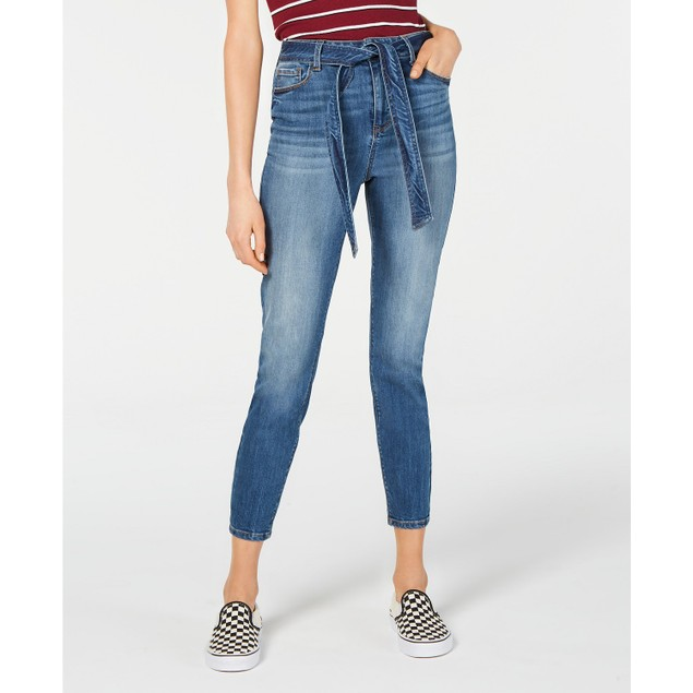 Vanilla Women's Star Belted Ankle Jeans Blue Size 7