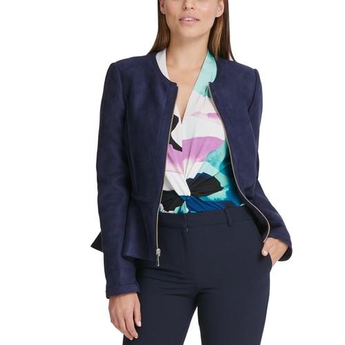 DKNY Women's Faux Suede Zip Front Peplum Jacket Blue Size 12