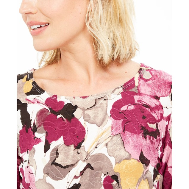 JM Collection Women's Printed Jacquard Top White Size Small