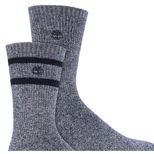 Timberland Men's 2-Pk. Marled Striped Boot Socks Black Size Regular