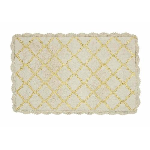 Spura Home Treliis Pattern Floor Cover Beign Fancy Bath Mat 21x32