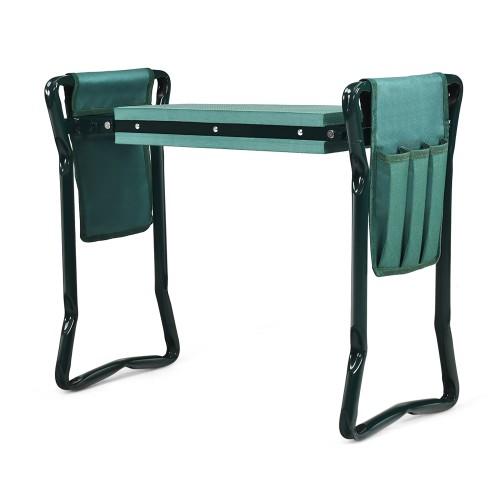 Costway Folding Garden Kneeler and Seat Bench w/2 Bonus Tool Pouches & EVA