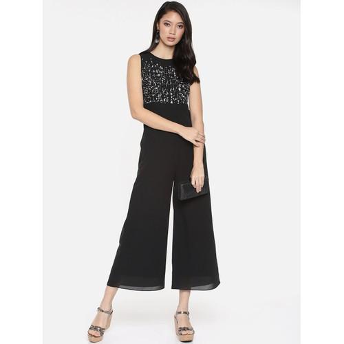 Connected Women's Glitter Illusion Wide-Leg Jumpsuit Black Size 10