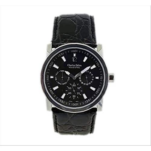 Charles Delon Men's Watches 3983 GSBB Black/Silver Leather Quartz Round Analog