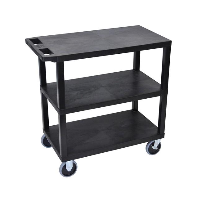 "Luxor 18"" x 32"" Three Flat Shelves Heavy - Duty Cart - Black"