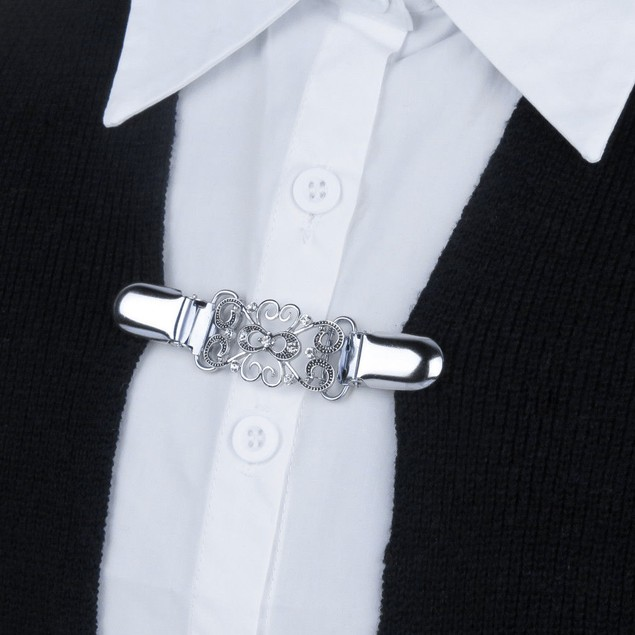Crystals Sweater Collar Clip-Swirls-Cardigan-Dress-Blouse-Shawl-Jacket