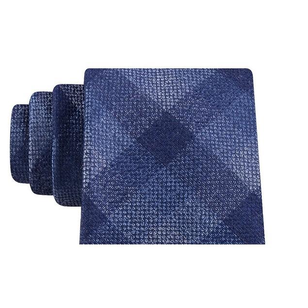 Michael Kors Men's Classic Pebble Gingham Check Tie Blue Size Regular