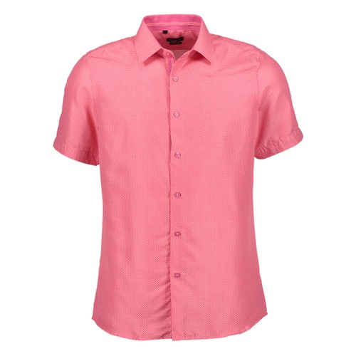 Rosso Milano Modern Fit Short Sleeve Pink Houndstooth Dress Shirt