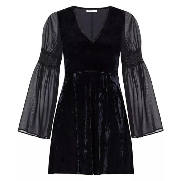 BCBGeneration Women's Velvet Long Sheer Smocked-Sleeve Mini Dress, S, Black