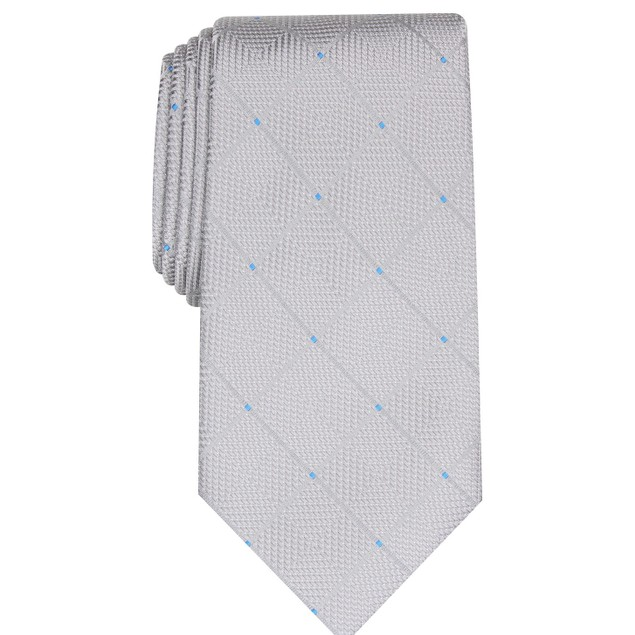 Perry Ellis Men's Burr Classic Geo Grid Tie Silver Size Regular