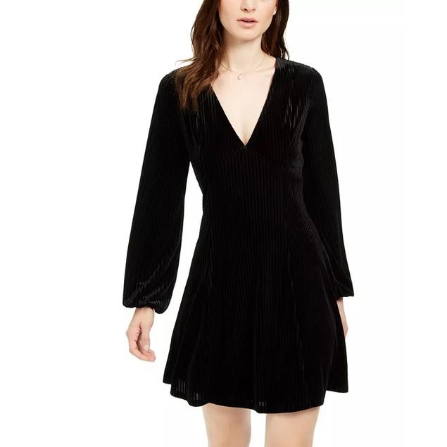 19 Cooper Women's Long-Sleeve Velvet-Stripe Dress Black Size Small