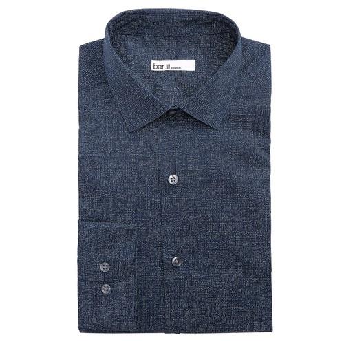 Bar III Men's Slim-Fit Stretch Light Print Dress Shirt  Navy Size 34X35