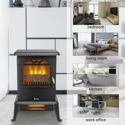 Zokop Upgrade 1500W Electric Fireplace Space Heater 3D Flame Stove Fre