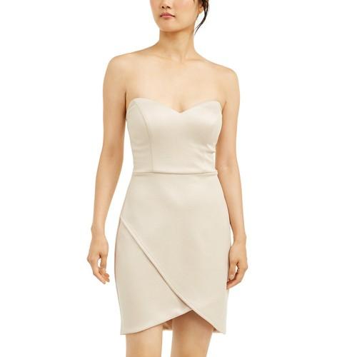 City Studios Juniors' Strapless Wrap Skirt Dress Gold Size 11