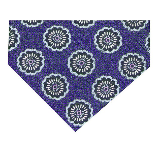 Tasso Elba Men's Classic Medallion Silk Tie Purple Size Regular