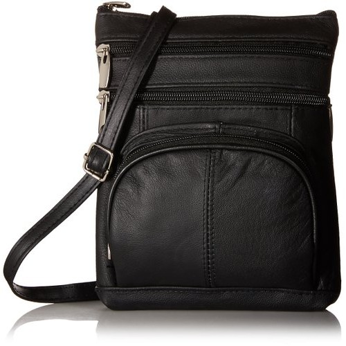 JAMIE Leather Crossbody Multi-Pocket Purse Bag Front Organization Pouch