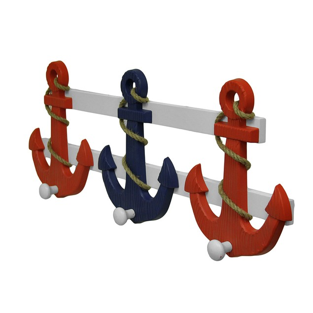 Red White And Blue Wooden Nautical Anchor Wall Decorative Wall Hooks