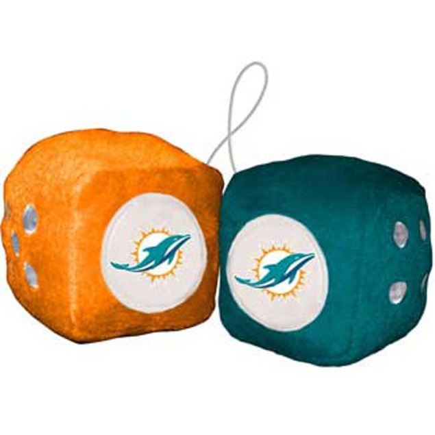Miami Dolphins Fuzzy Dice NFL Football Team Logo Plush Car Truck Auto