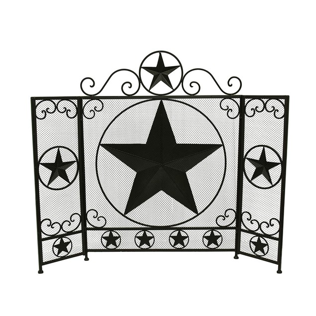 Rustic Brown Western Star 3 Panel Metal Fireplace Fireplace Screens