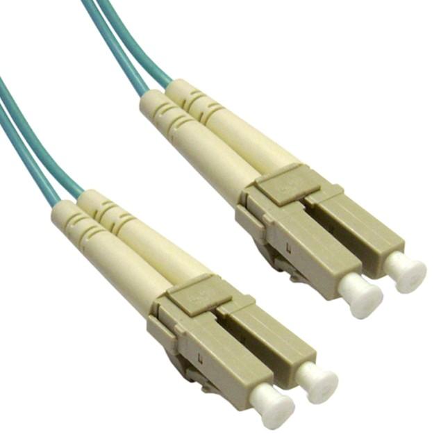 10 Gigabit Aqua Fiber Optic Cable, LC / LC, Multimode, (3.3 foot)