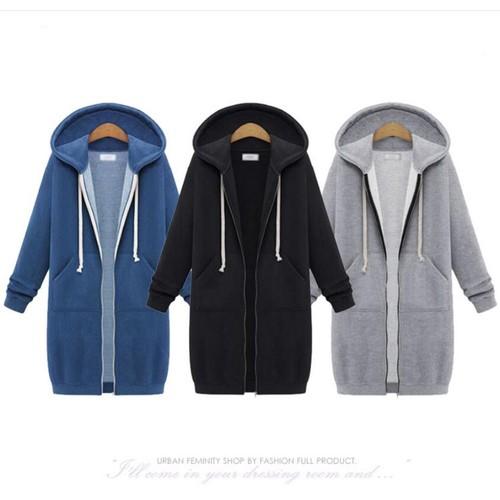 Women's Hooded Mid-Length Sweater Fleece Jacket