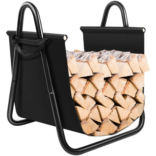 Costway Firewood Rack Log Holder W/ Canvas Tote Carrier for Fireplace Outdo