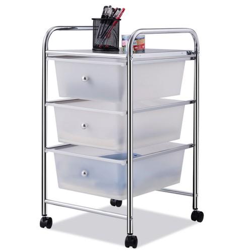 Costway 3 Drawers Metal Rolling Storage Cart Scrapbook Supply & Paper Home