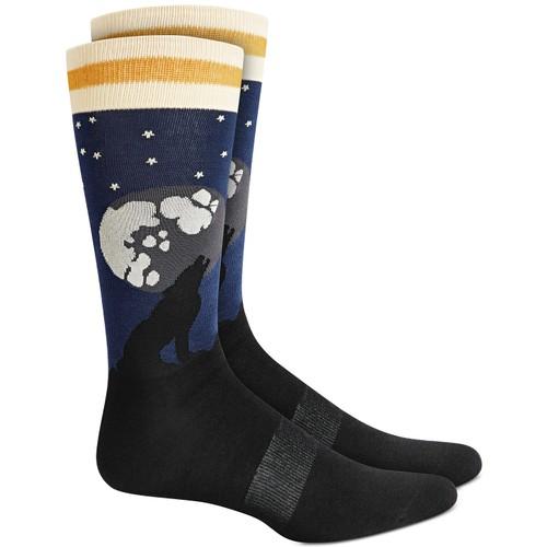 Bar III Men's Howling Wolf Socks Blue Size Regular