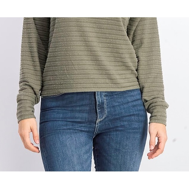Hippie Rose Juniors' Cozy Mock-Neck Ribbed Top Moss Size Large