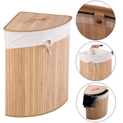 Costway Corner Bamboo Hamper Laundry Basket Washing Cloth Bin Storage Bag L