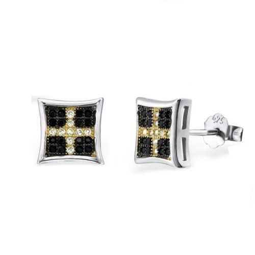 Sterling Silver Black & Yellow Cubic Zirconia Square Stud Earrings