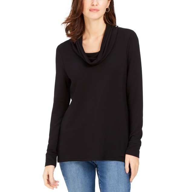 Charter Club Women's Cowlneck Top Black Size Small
