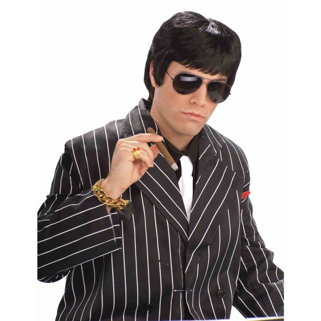 Tough Guy Black Wig Tony Montana Scarface Al Pacino Mobster Mob 80's Adult