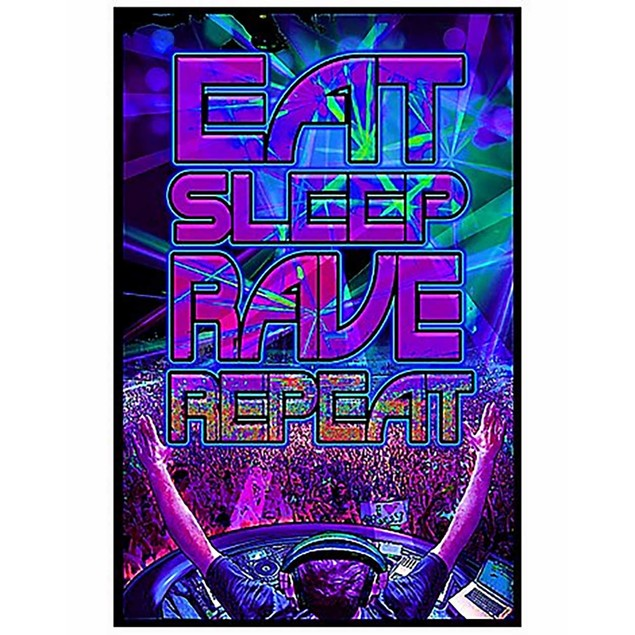"Eat Sleep Rave Repeat Poster 24"" x 36"" Blacklight Responsive Trance Light"